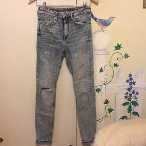H&M skinny high waisted ripped jeans